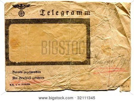 Envelope of telegram from Nazi occupation in Poland