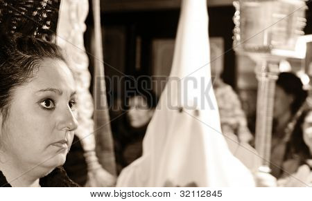 GRANADA, SPAIN - APRIL 2: Easter Procession of the Cofradia Nuestra Senora de los Dolores, Our Lady of Sorrows, on April 2, 2012 in Granada, Spain. The Cofradia, confraternity, was founded in 1937