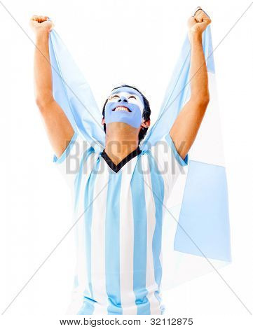 Argentinean man celebrating with arms up - isolated over a white backgorund