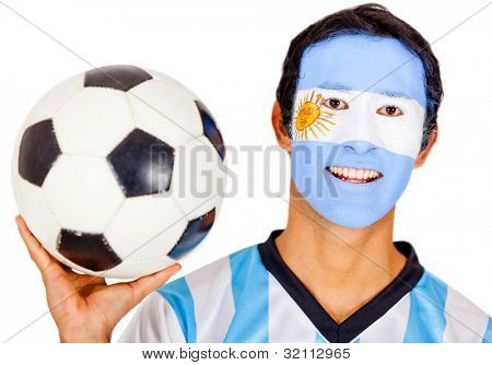Argentinean football fan - isolated over a white background
