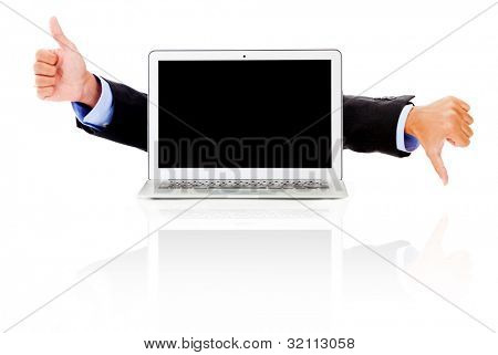 Laptop computer with thumbs up and down as like or dislike - isolated
