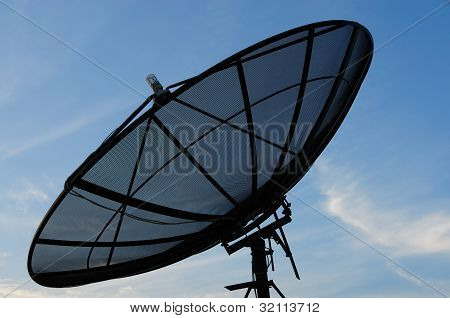 Black Satellite Dish On Office Building