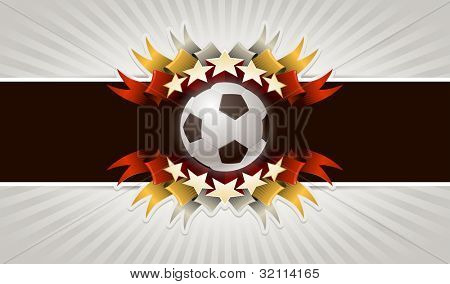 Five stars soccer. Vector illustration of vintage football banner. Elements are layered separately in vector file.