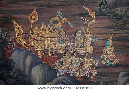 Mural painting on the walls of Emerald Buddha Temple in Bangkok, Thailand