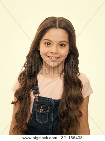 poster of Natural Beauty. Girls Usually Let Their Hair Grow Long. Healthy And Shiny Hair. Kid Cute Child With
