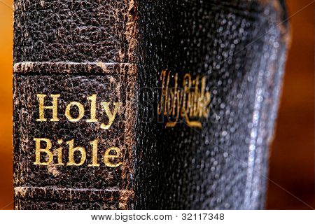 Old Damaged Holy Bible Book Spine Detail Close Up