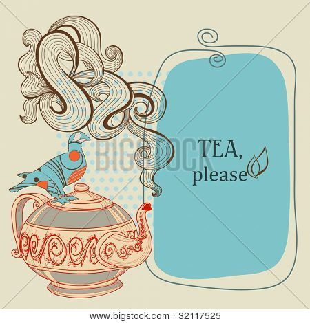 Tea or coffee vector panel with decorative bird