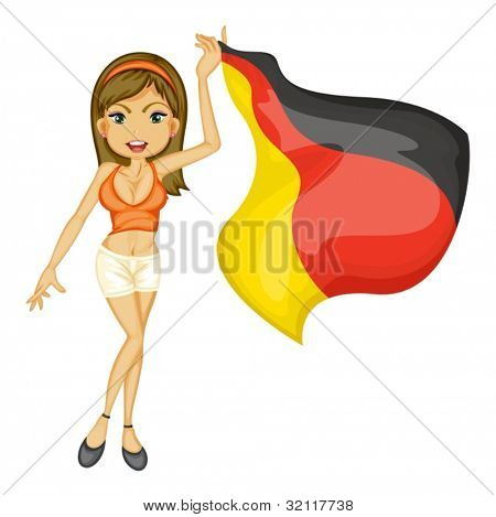Illustration of a sexy woman cheering for german