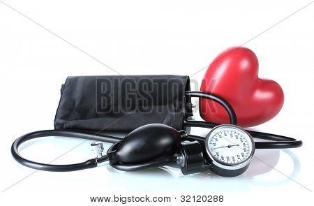 Corazón aislado en blanco y negro tonómetro