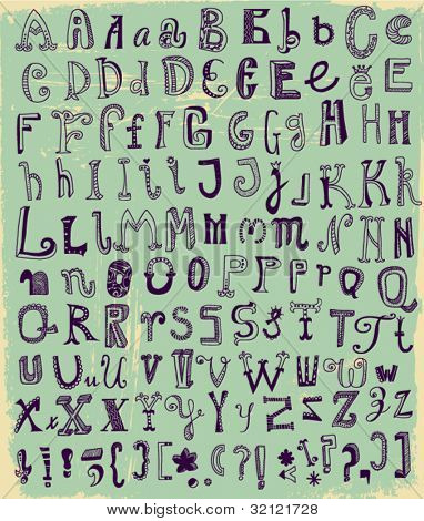 Whimsical Hand Drawn Alphabet Letters, with most common keystrokes: question marks, exclamation points, commas, brackets, stars, etc.