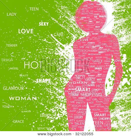 illustration of lady in fashion word cloud on abstract grungy background