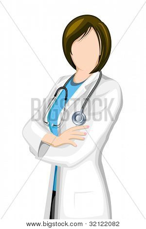 illustration of female doctor with stethoscope on isolated background