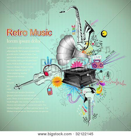illustration of music instrument on retro background