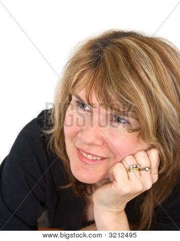 Beautiful Smiling Mature Woman On White Background