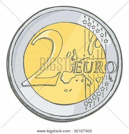 Two Euros Coin Sketch