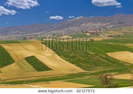 Beautiful Green Scenery - Fields And Mountain