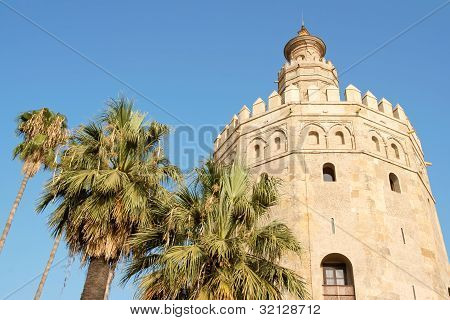 Torre Del Oro Or Gold Tower In Seville