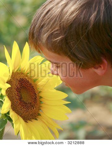 Little Boy And A Big Flower