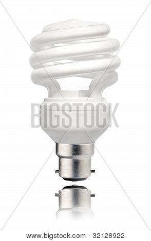 Energy Saving Lightbulb With Bayonet Bottom Isolated