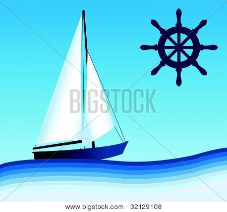 Sailing and steering wheel