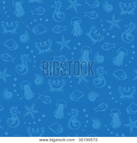 Sea life seamless pattern in blue