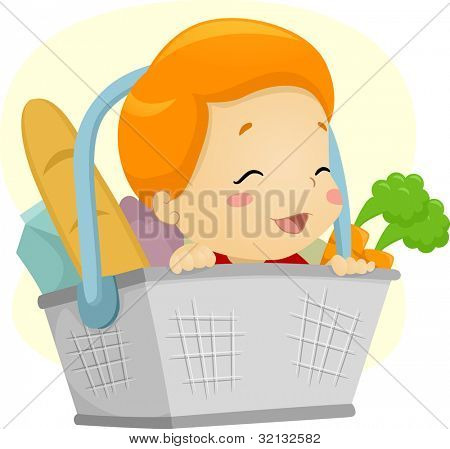 Illustration of a Baby in a Basket