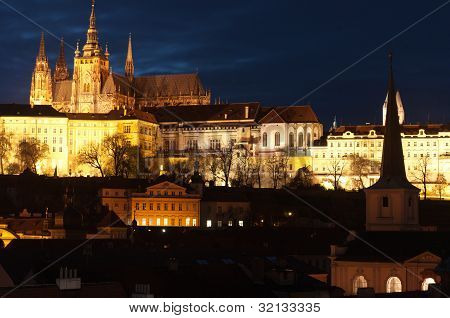 Prague Castle At Dusk, Czech Republic..