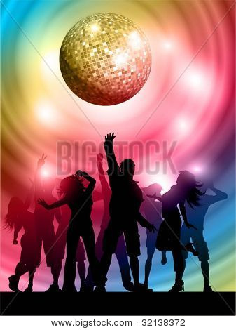 Silhouettes of people dancing on a mirror ball background