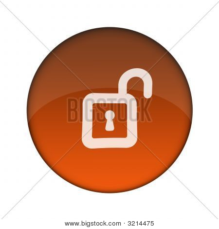 Unlock 3D Glossy Web Button (Clicked)