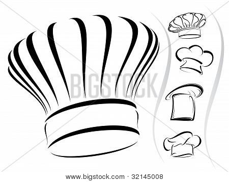 Chef Hat Icon Vector Chef Hat Silhouettes Vector