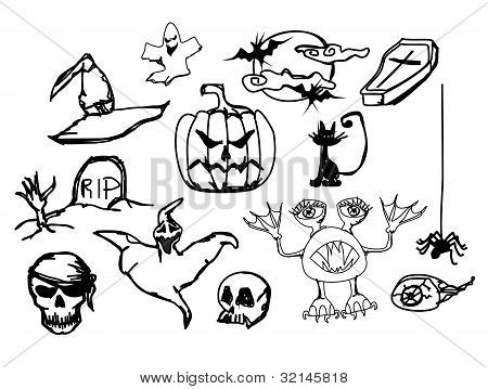 Set with halloween doodles , vector illustration