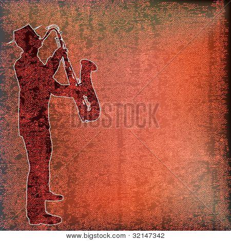 Saxophone Player, Brass Background