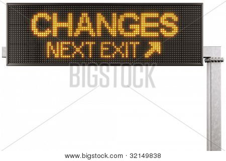"3d rendering of a modern digital highway sign with ""CHANGES"" written on it"