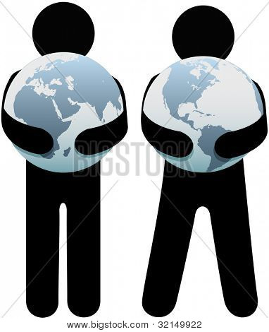 Earth hugger people holding world safe in their globalist arms