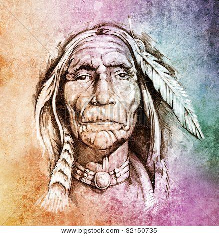 Schets van de tatoeage kunst, portret van Indiaanse hoofd over kleurrijke papier
