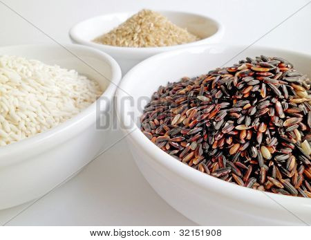 Black, Brown, White Rice Bowls