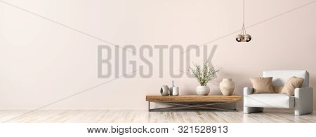 poster of Interior Design Of Living Room. Wooden Coffee Table, Lamp And White Armchair, Panorama 3d Rendering