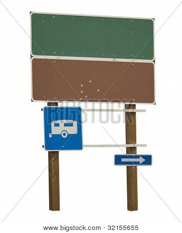 Blank green and brown sign with trailer blue