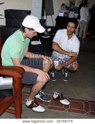 LOS ANGELES - APR 16:  Zach Conroy, Brandon Beemer at the The Leukemia & Lymphoma Society Jack Wagner Golf Tournament at Lakeside Golf Course on April 16, 2012 in Toluca Lake, CA