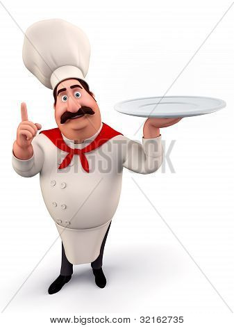 Chef walking with dish
