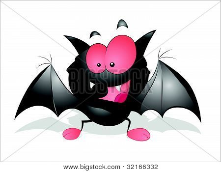 Happy Cartoon Bat