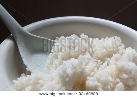 Bowl of rice closeup