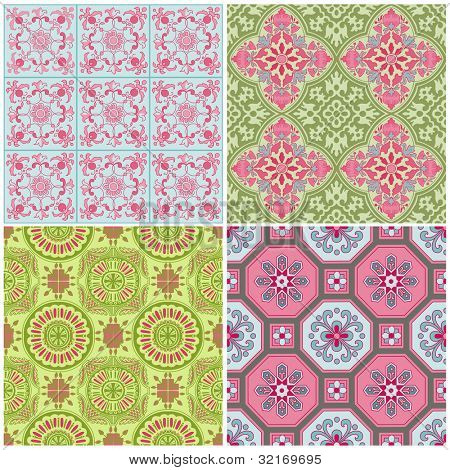 Seamless Vintage Background Collection - Victorian Colorful Tile in vector