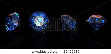 Round blue gemstone isolatedon black  background.  Benitoit. Sapphire. Iolite.Tanzanite