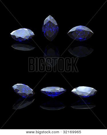 Blue gemstone of marquis shape on  black  background.  Benitoit. Sapphire. Iolite.Tanzanite