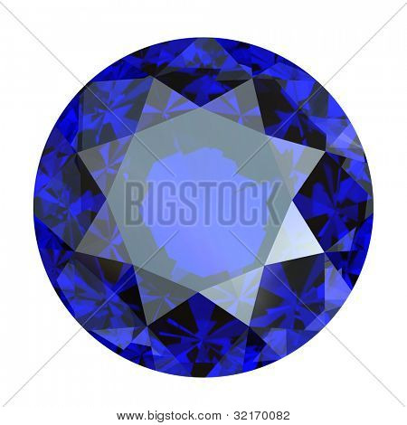 Round blue gemstone isolated on white background.  Benitoit. Sapphire. Iolite.Tanzanite