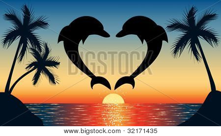 Silhouette of two dolphins jumping out of water in the ocean shaped heart and silhouette of palm tree at sunset