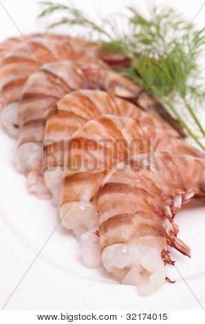 Prawns With Dill On A Plate
