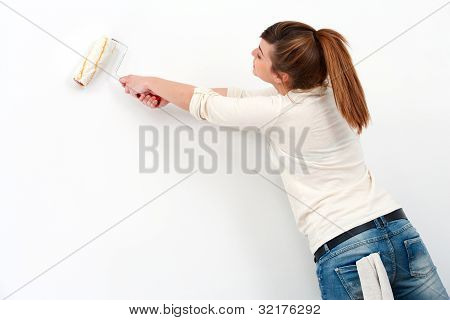 Young Female Painter Painting.