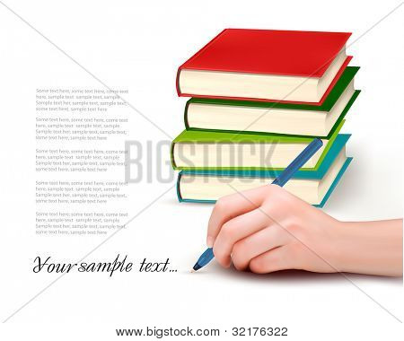 Hand with pen writing on paper and stack of book. Vector illustration.